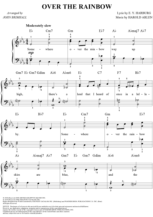 Over The Rainbow Sheet Music By Harold Arlen Sheet Music Rainbows
