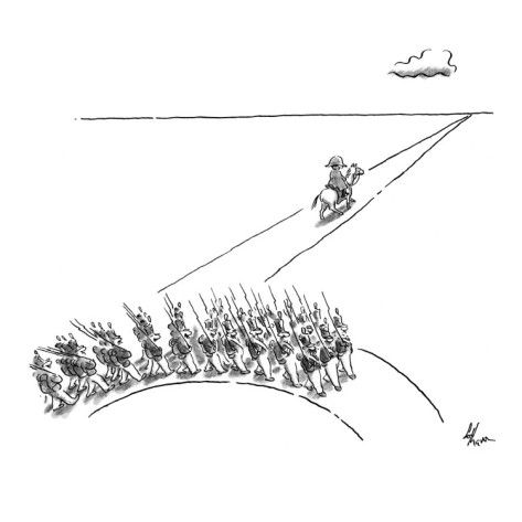 Army following Napoleon veers off on a different path. - New Yorker Cartoon Premium Giclee Print