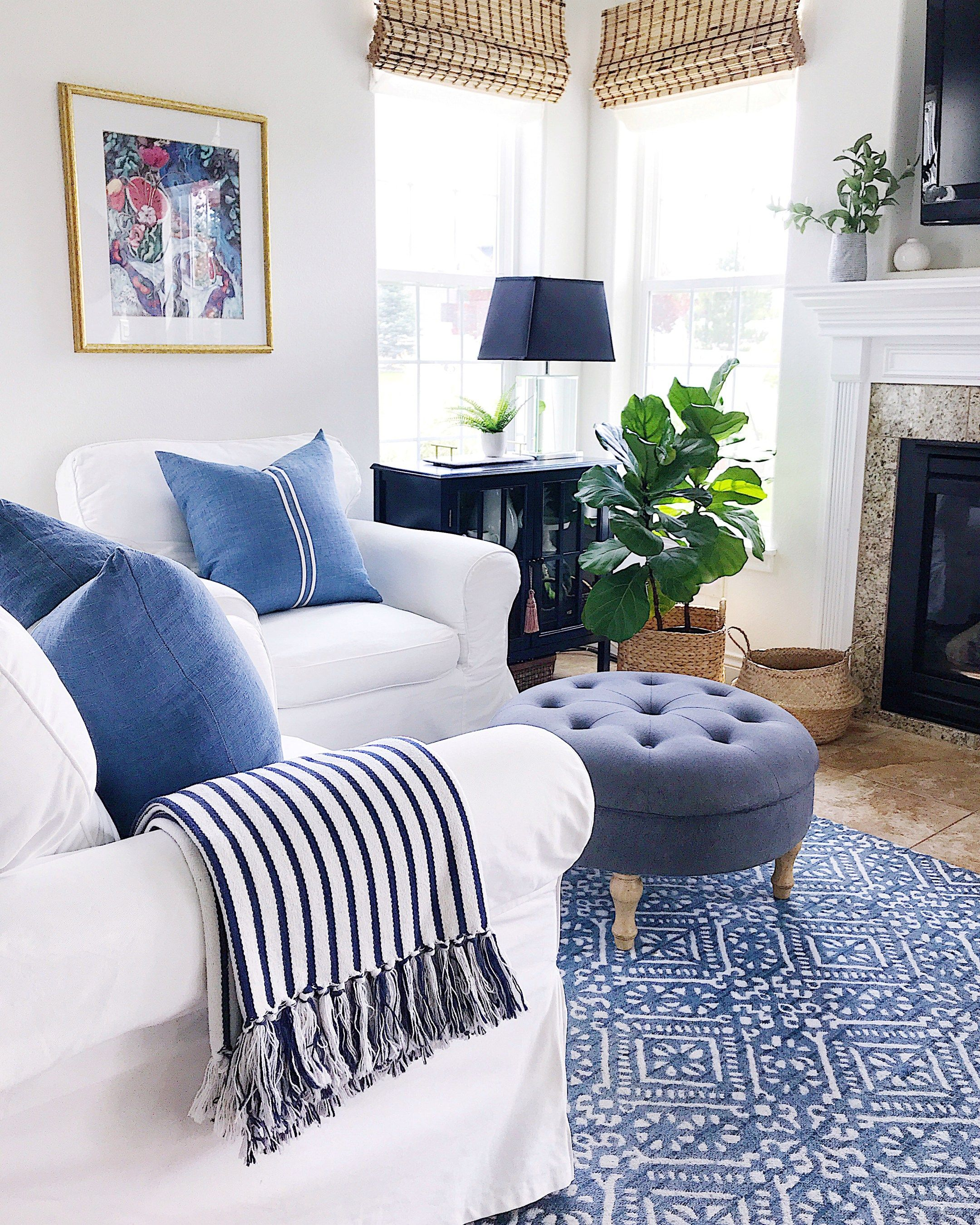 blue home decor on summer home tour decorating ideas jane at home blue and white living room blue living room summer home decor summer home tour decorating ideas