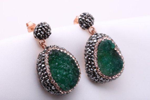 41064f8f6 Turkish Handmade Jewelry Natural Green Druzy Marcasite Swarovski Crystals  925 Sterling Silver Earrin
