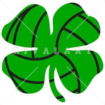 Sports Clipart Image Of Volleyball Shamrock Design Graphic Lucky