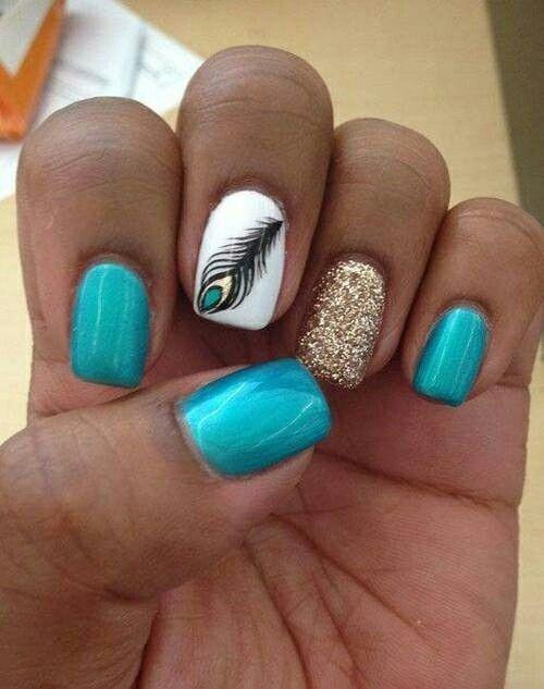 3 electric blue nails, 1 gold glitter accent nail, and 1 peacock feather  nail. - Pin By Angelina On Nails Pinterest Mani Pedi, Nail Nail And Makeup