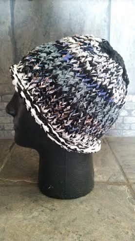 SALE Hand woven hat, upcycled cotton skullcap, beanie, large, striped, black, white, blue, red, orange, brown, thick, Loom of a Fruit