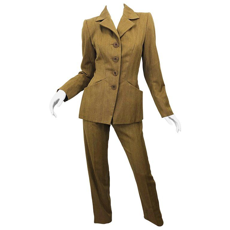 5df809e23eb Vintage Yves Saint Laurent Size 36 Le Smoking Camel Brown Women's Ysl Pant  Suit