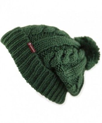 05e72e099dc THE HAT DEPOT Winter Unisex Thick and Warm Pom Pom Fleece Lined Skully Knit  Beanie Hat - Dark Green W  Label - CM187AW8GC0