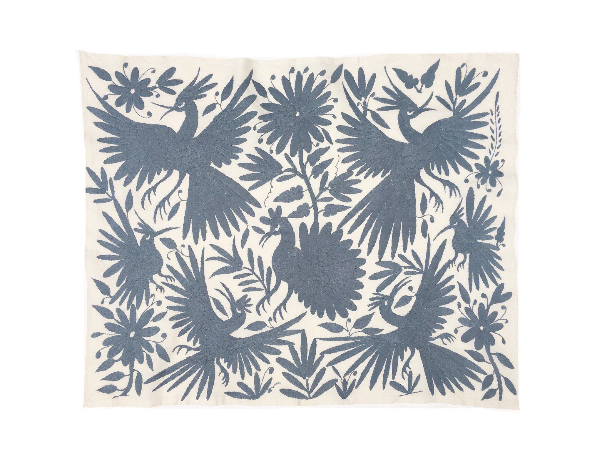 Otomi wall art textile from mexico otomi embroidery bluegray