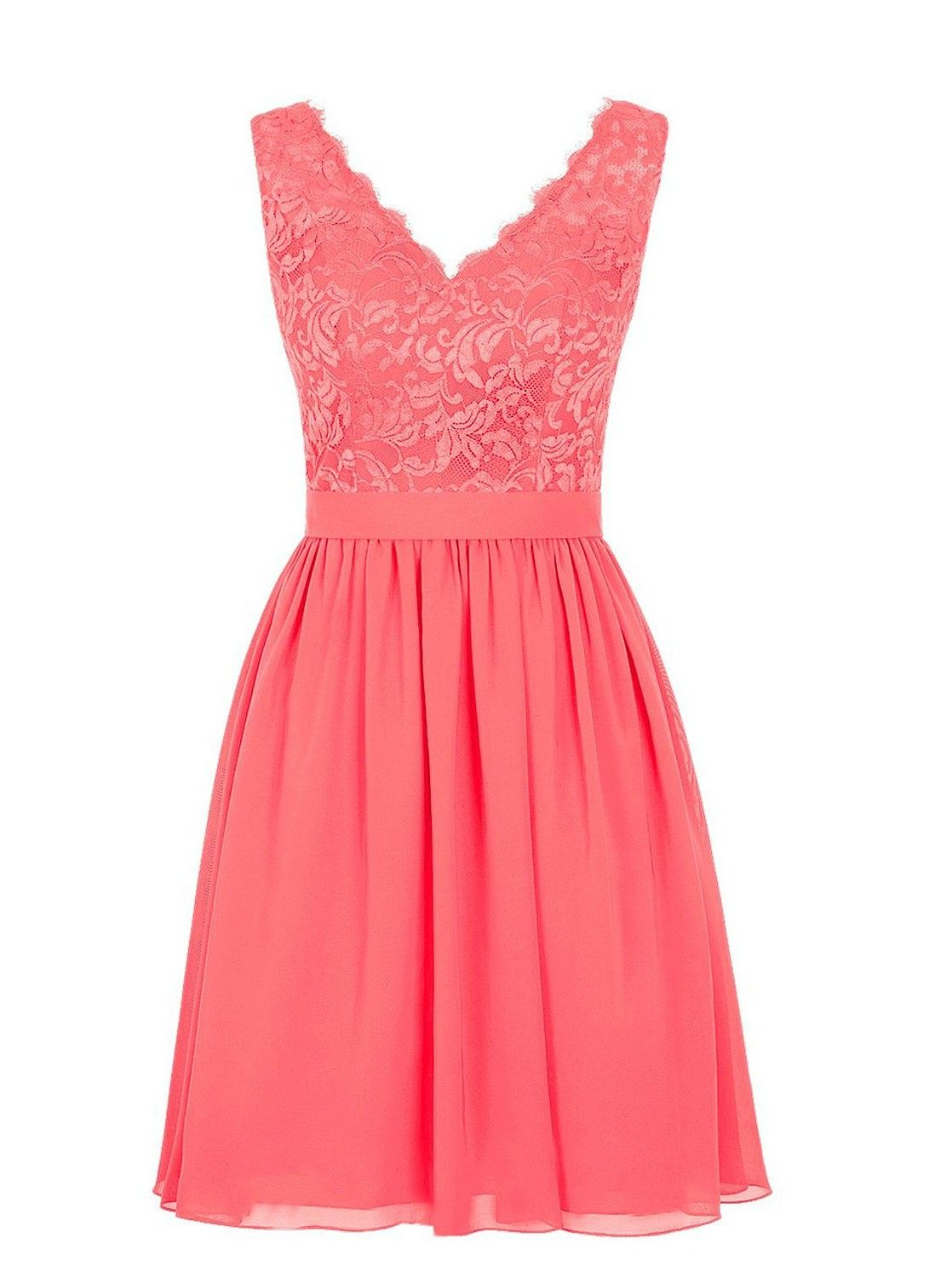Elegant vneck short chiffon coral bridesmaid dresswedding party