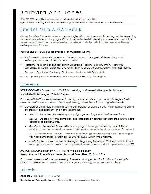 Sample Resume For A Social Media Manager