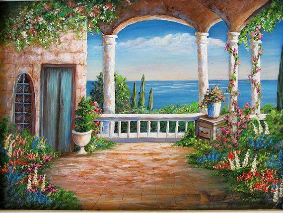 Vista de la villa un original paisaje de bellas artes for Murales de pared de paisajes
