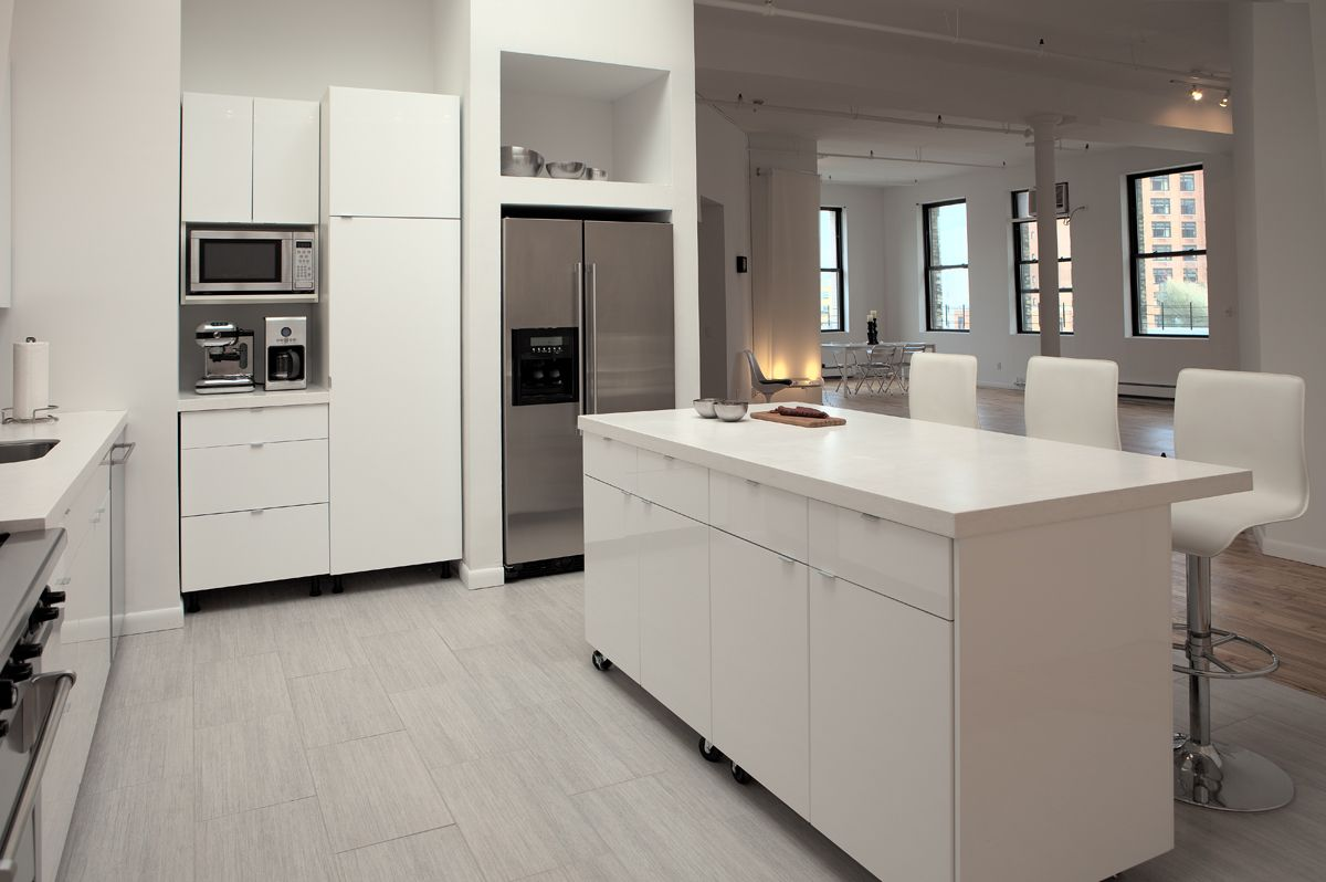 Contemporary White Themes Kitchen Studio Design Collections With Modern White Color Scheme Kitchen Cabinet Furniture And