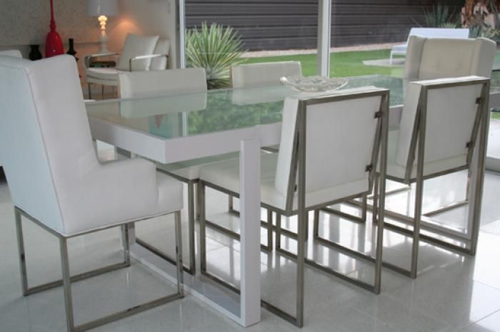 White Metal And Frosted Glass Dining Table
