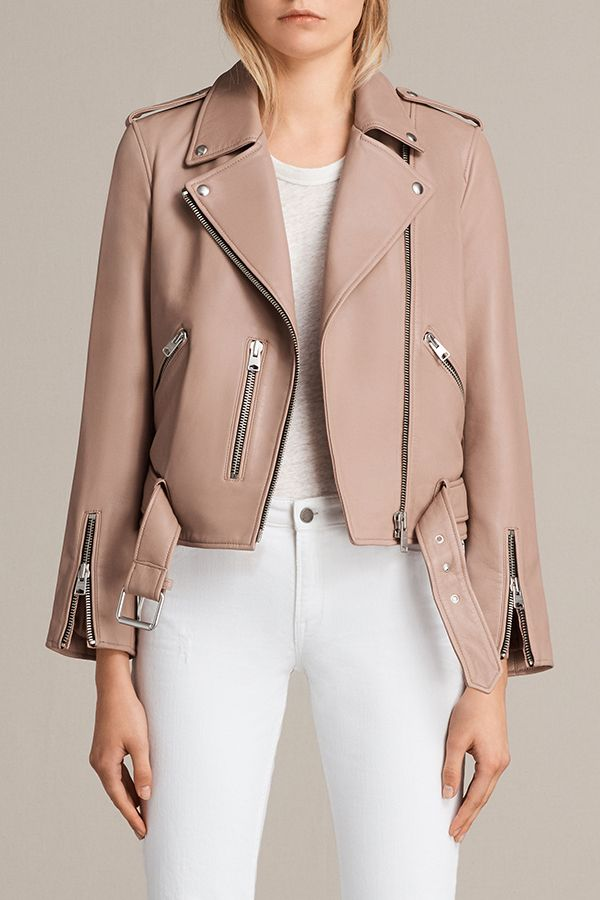 01dcc5db407b1 AllSaints New Arrivals: Blush Pink Balfern Biker. The best selling Balfern Biker  Jacket is cut in a slim fit, crafted from butter-soft lamb leather in a ...