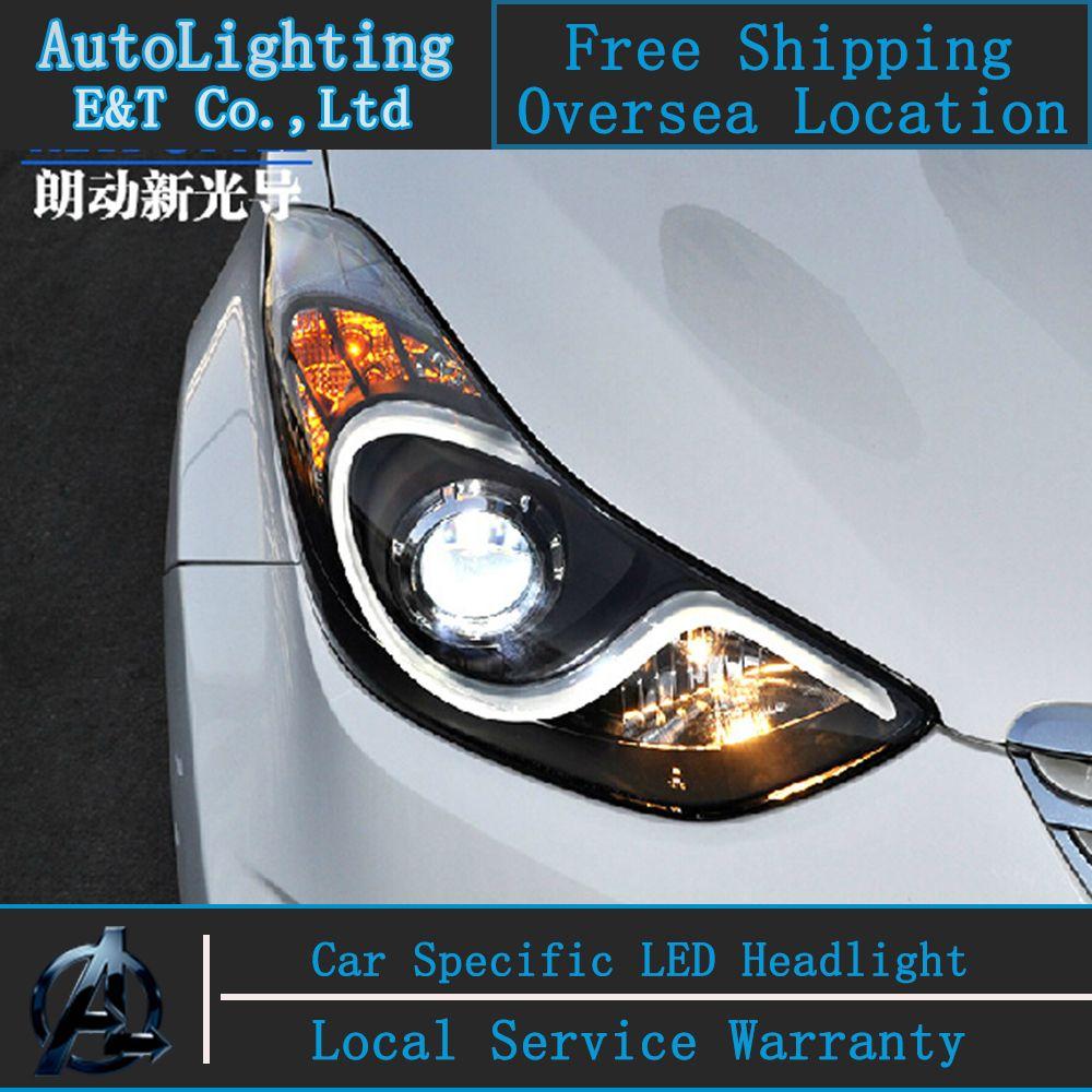 Car Styling For Hyundai Elantra Md Led Headlights 2011 2014 S Type Angel Eye Head Lamp Led Drl H7 Hid Bi Xenon Lens Low Beam Led Headlights Headlights Elantra