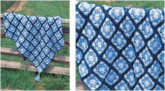 Easy Crocheted Granny Square Throw Free Crochet Pattern Sewing