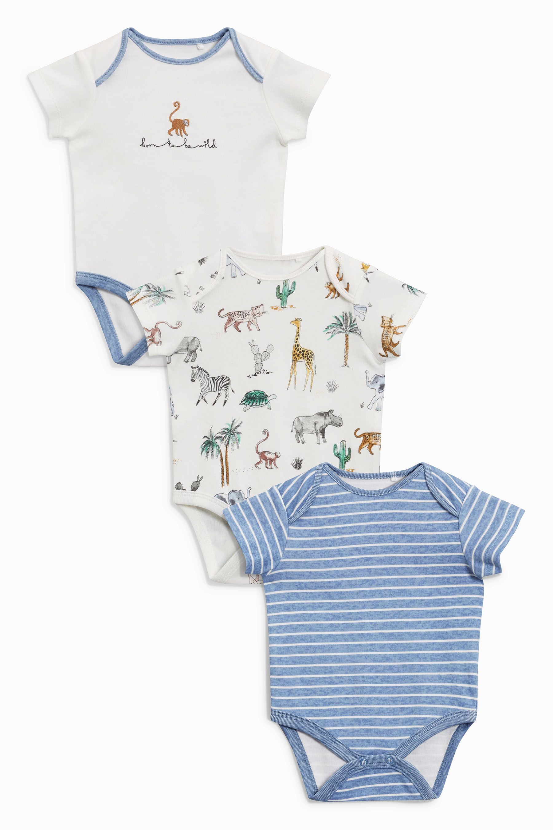 4a536322d Buy Animal Print Short Sleeve Bodysuits Three Pack (0mths-2yrs) from ...