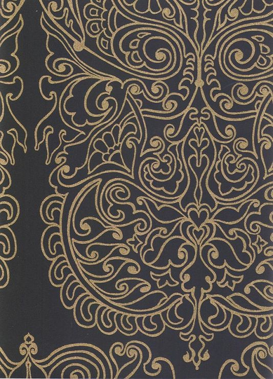 Alpana Wallpaper With Gold Design Printed On Black