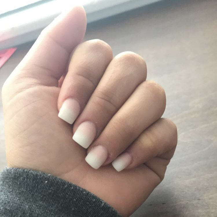 Pink And White French Ombre Square Matte Acrylic Nails Pink