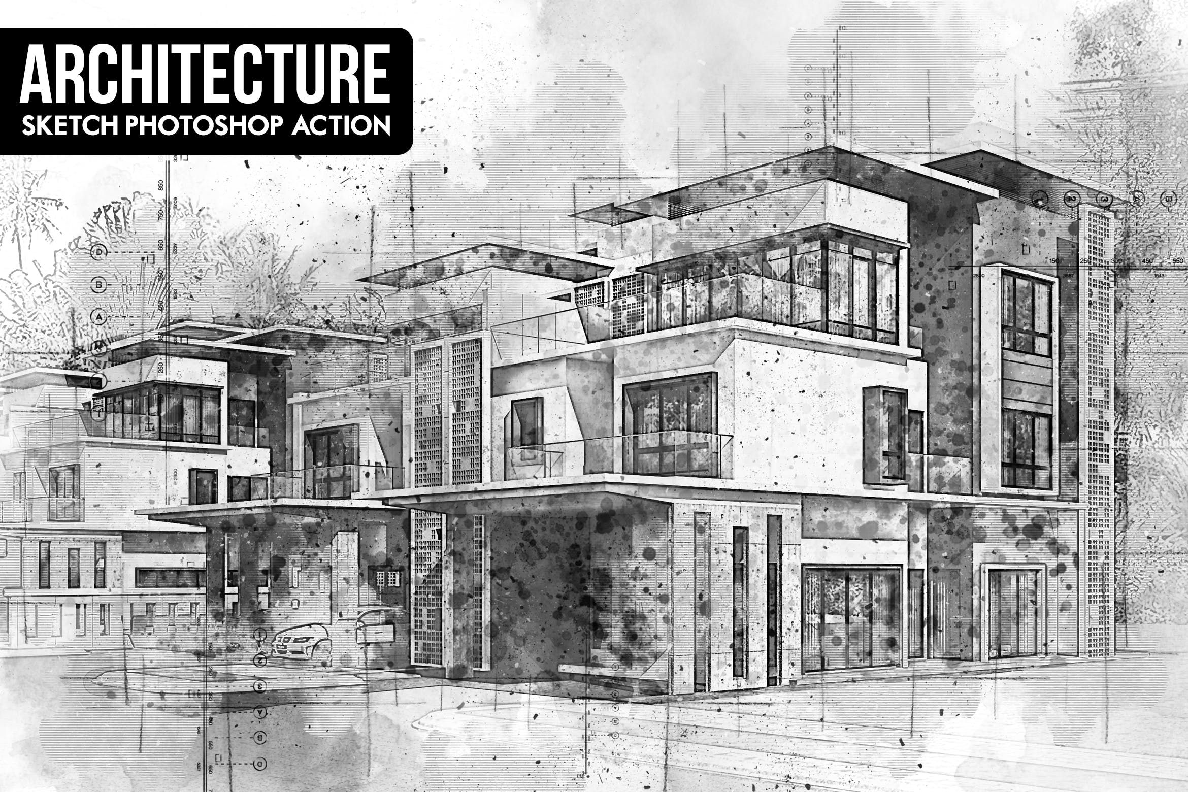 Architecture sketch photoshop action atchitecture artistic action drawing design exterior interior hand drawn template sketch