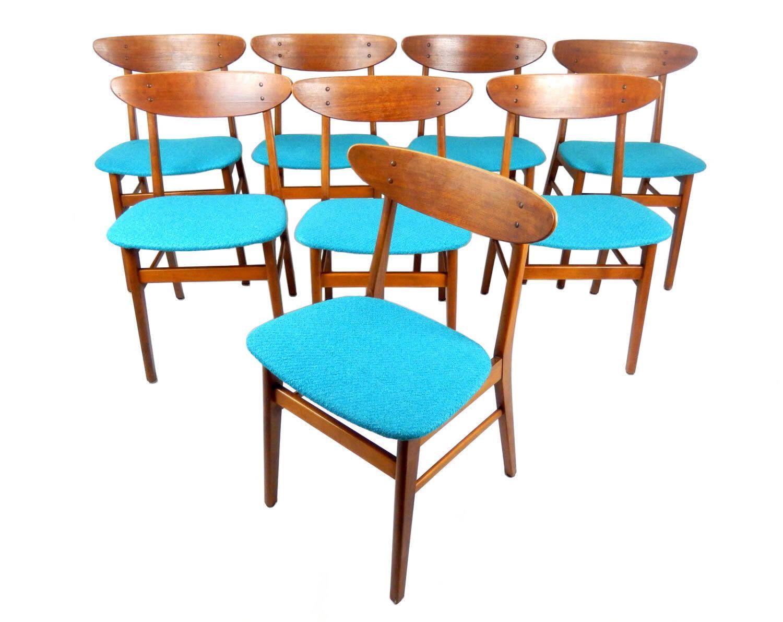 Set of 8 mid century modern teak dining chairs turquoise blue wool upholstery farstrup denmark - Turquoise upholstered dining chair ...