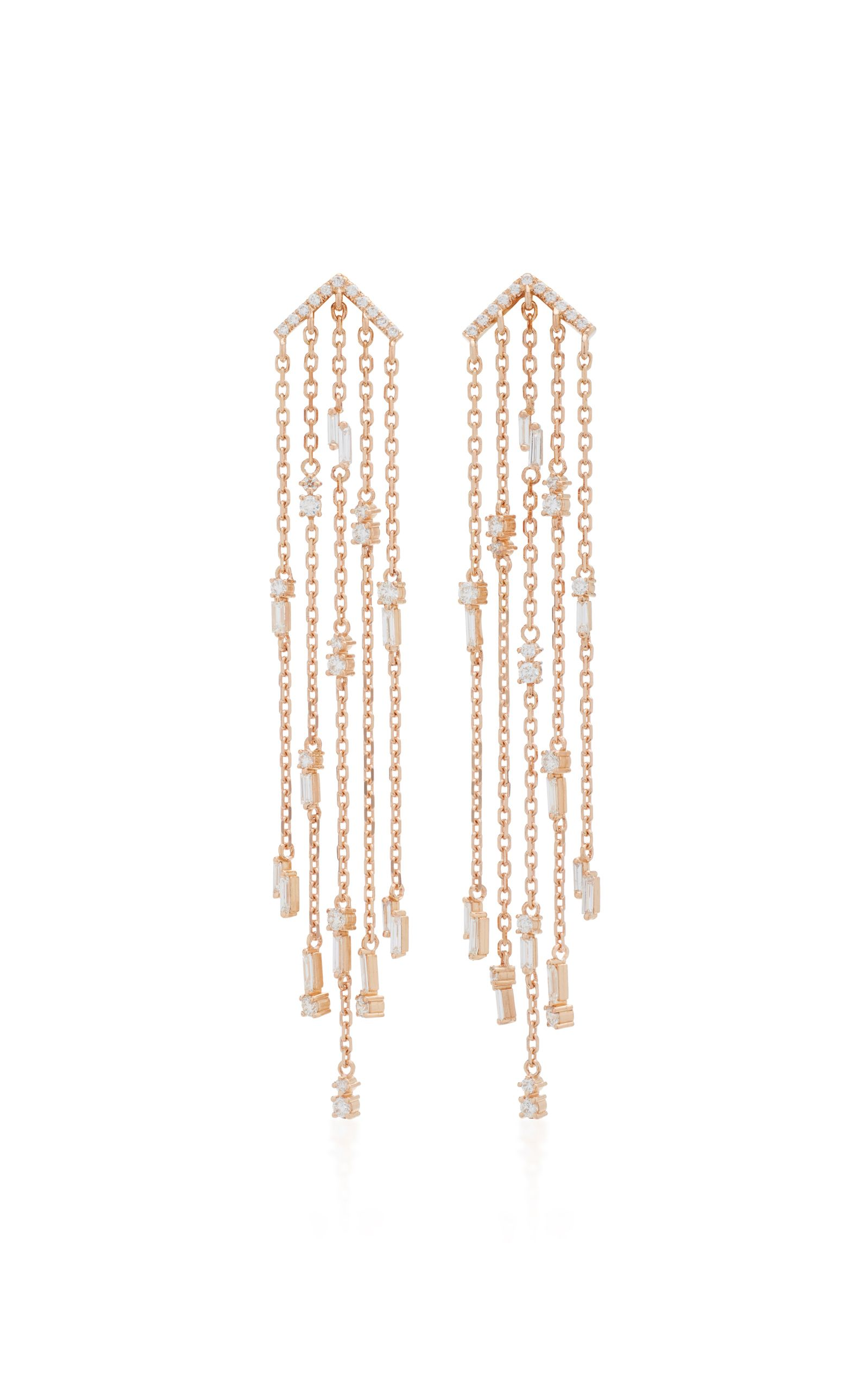 Suzanne Kalan 18K Rose Gold Diamond Chandelier Earrings