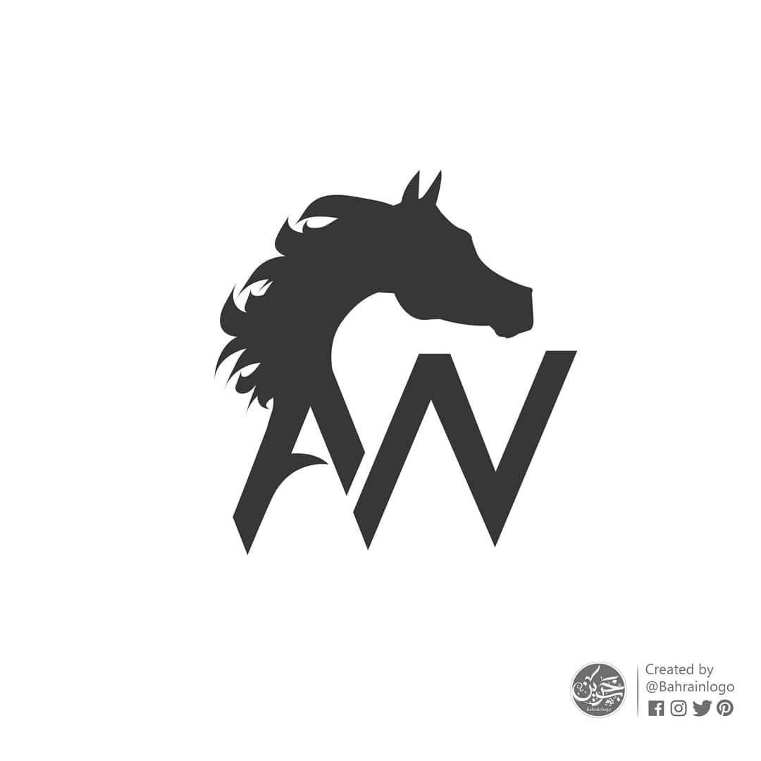 فريق بحريني للخيول A Wahab بسيط ويرمز لحرفين هما Aw تصميم شعار رسم لوجو فن تصميمي خيول فروسية فريق الأبطال Logo Fictional Characters Batman Art