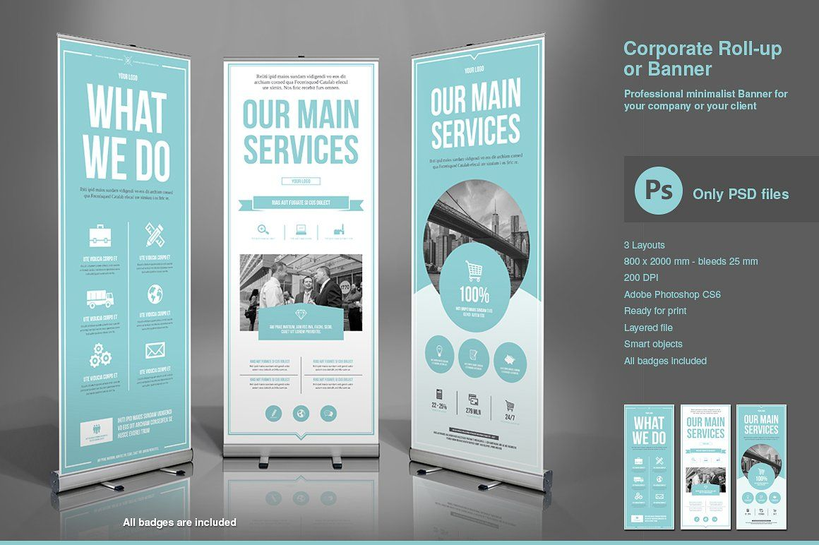 Business Roll Up Banner Psd Rollup Banner Design Pop Up Banner Retractable Banner Design