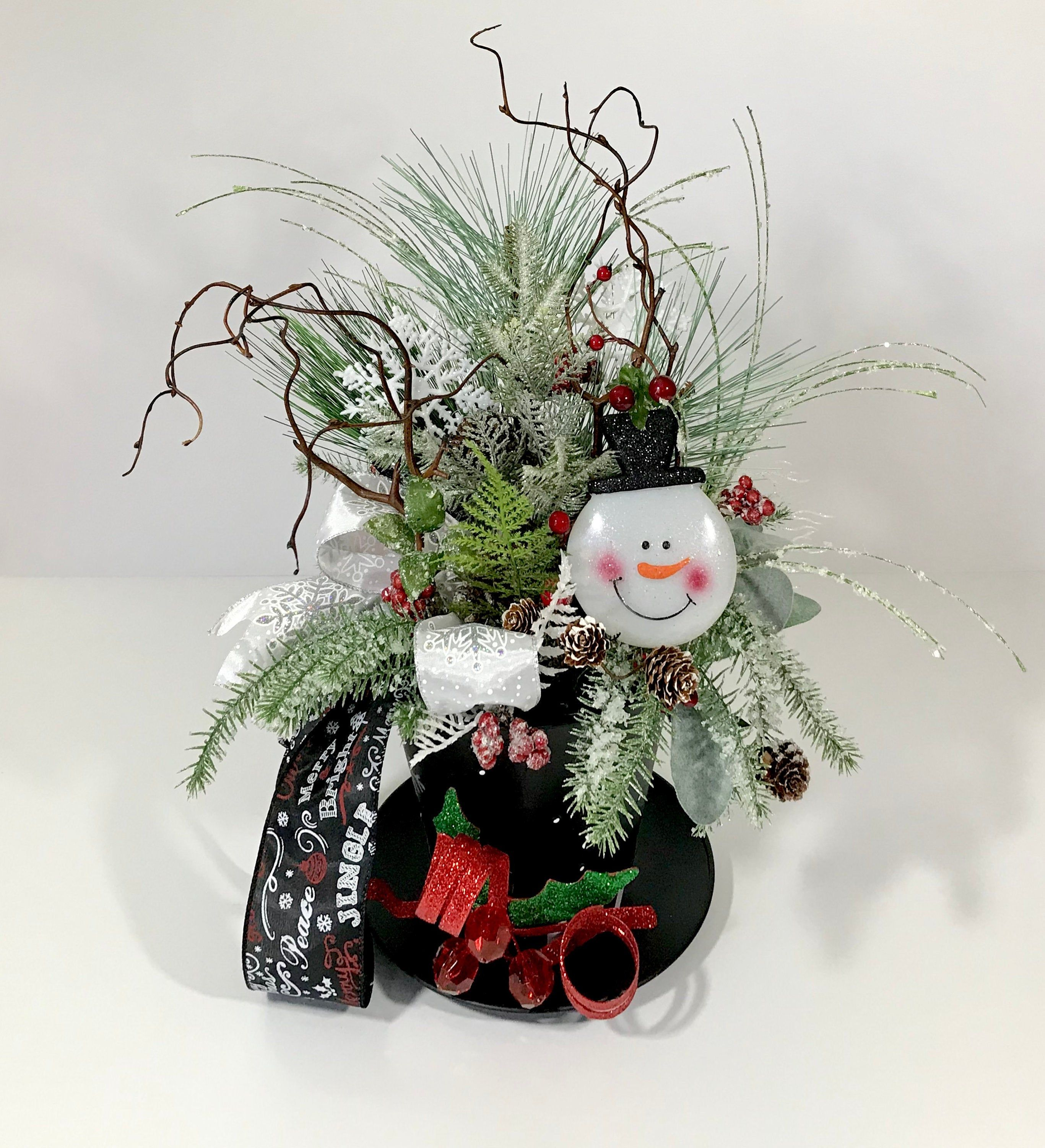 Christmas Snowman Top Hat Centerpiece Decoration Large Holiday Whimsical Table Decoration Christma Christmas Table Whimsical Christmas Christmas Centerpieces