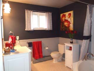 Navy And Gray With Red Accents Eric S Bathroom