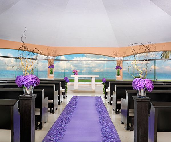 purple chapel decorations for beach wedding lavender luxe collection at palace resorts destinationwedding