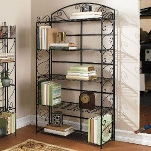 Brylane Home Wrought Iron Bookcase Iron Furniture Bakers Rack