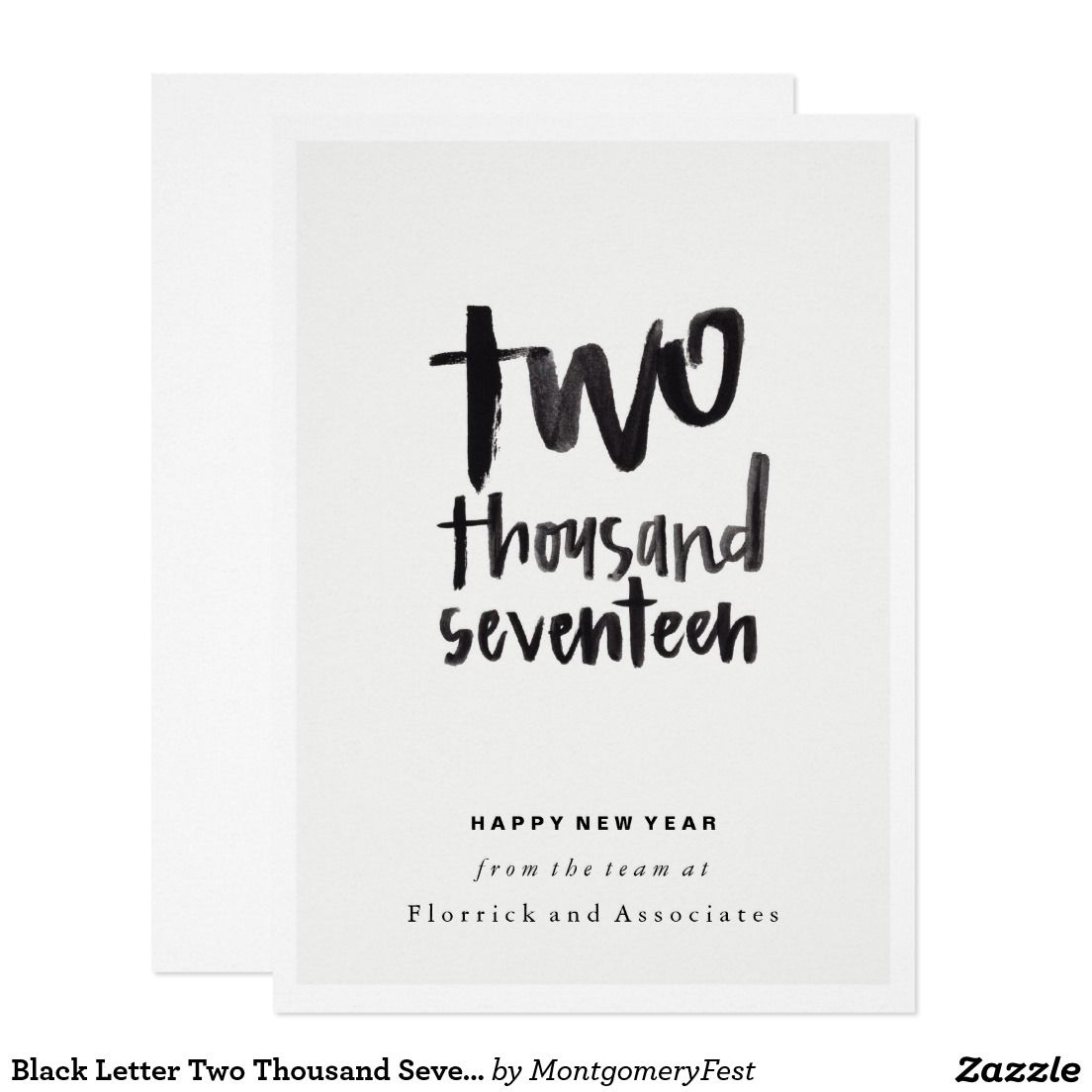 Black Letter Two Thousand Seventeen New Year Card, Fun Corporate ...