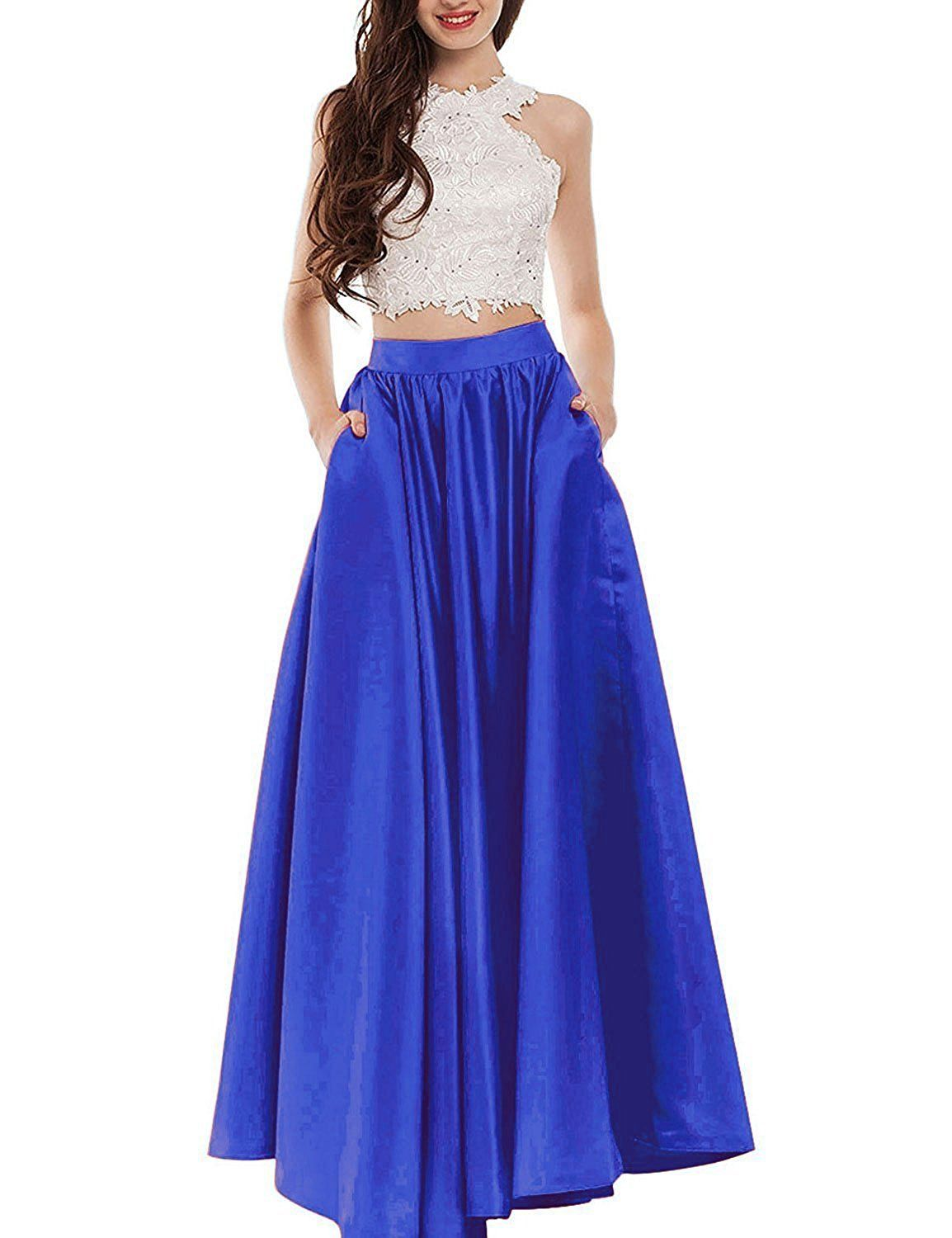 Trendprom two pieces satin floor length long prom dresses size us