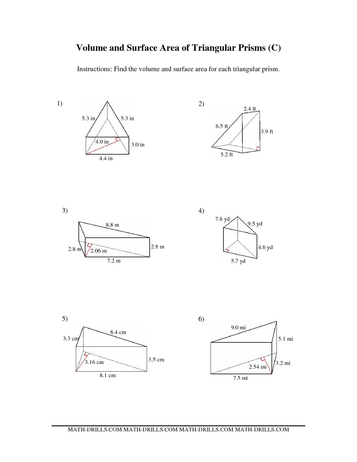 worksheet Surface Area Of Triangular Prism Worksheet the volume and surface area of triangular prisms c math worksheet from measurement