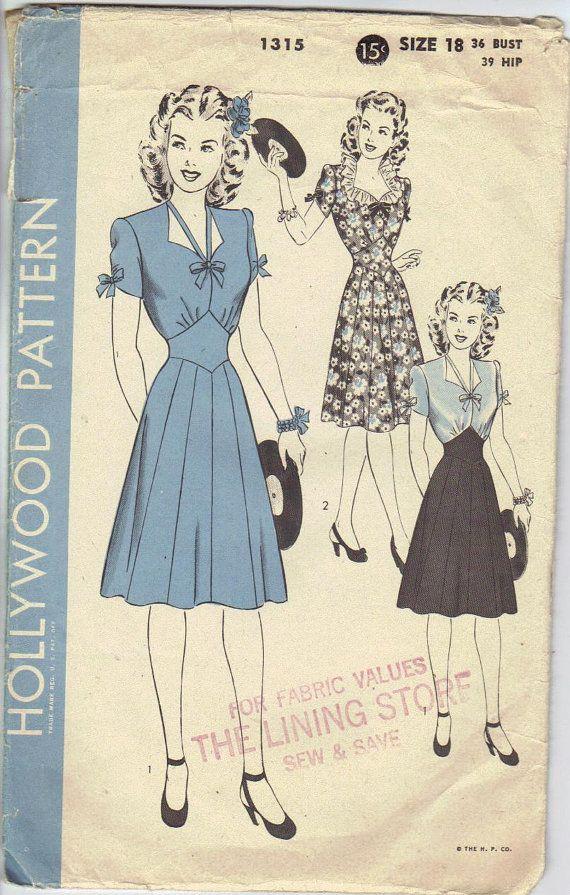 Hollywood Pattern 1315 Buy Vintage Clothing Vintage Outfits Vintage Dress Patterns