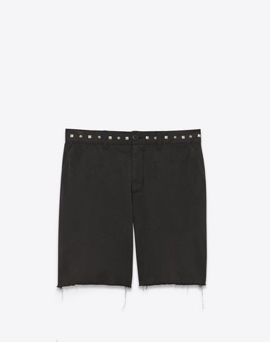 cee7e1799bf SAINT LAURENT STUDDED CHINO SHORTS IN BLACK STONEWASHED COTTON GABARDINE. # saintlaurent #cloth #
