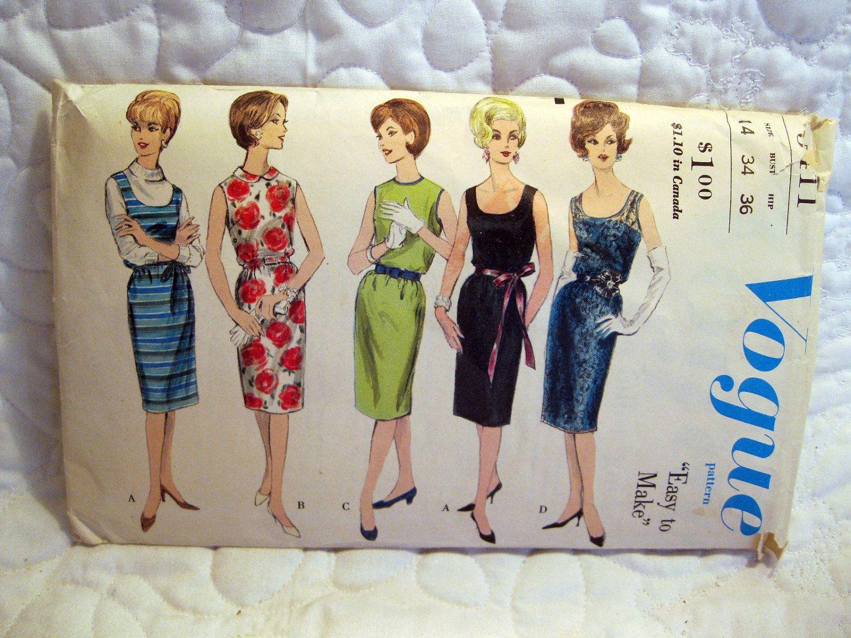 Vintage Pattern 60s Sheath Dress Easy VoGue Pattern