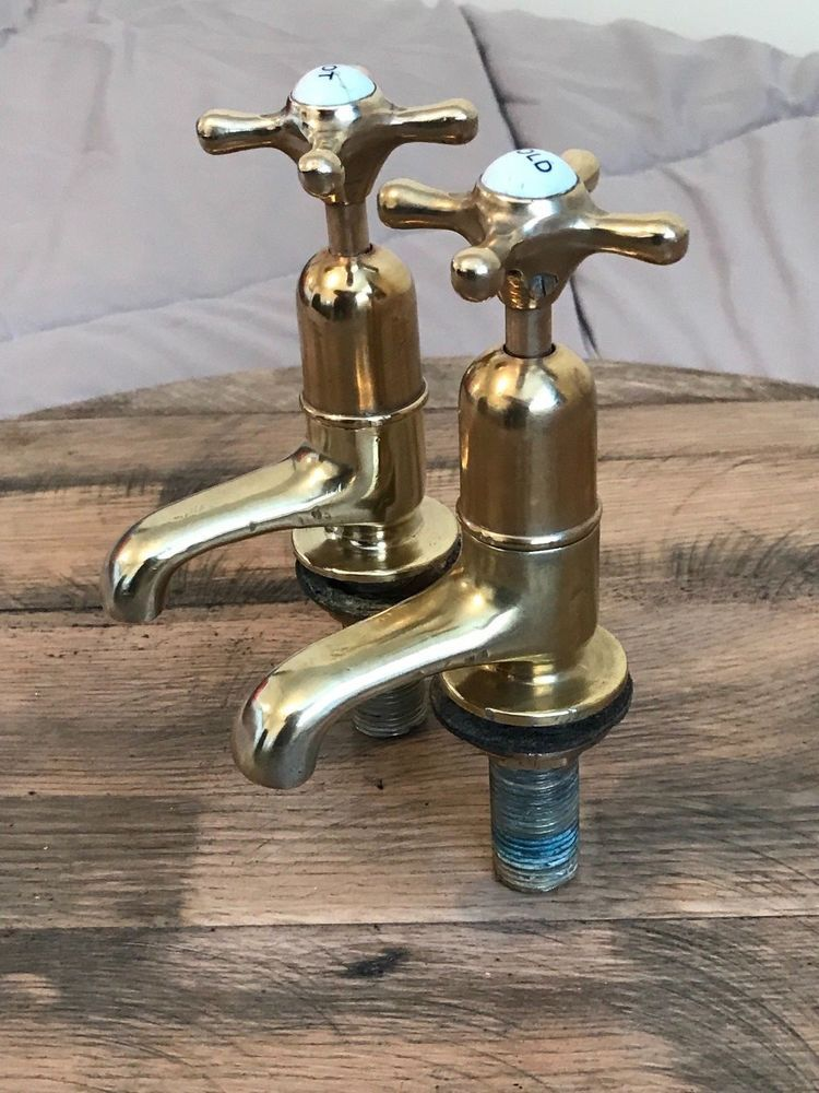 "1//2/"" Solid Polished Brass Tap Faucet Mixer Basin Garden Bathroom Kitchen BIB"