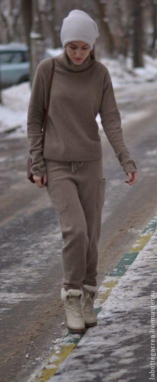 купить вязаный костюм Style Me Pretty Cashmere серый коричневый