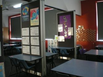 We keep the dividers out so we can use the pin up but our two rooms are usually kept open and we operate classes together.