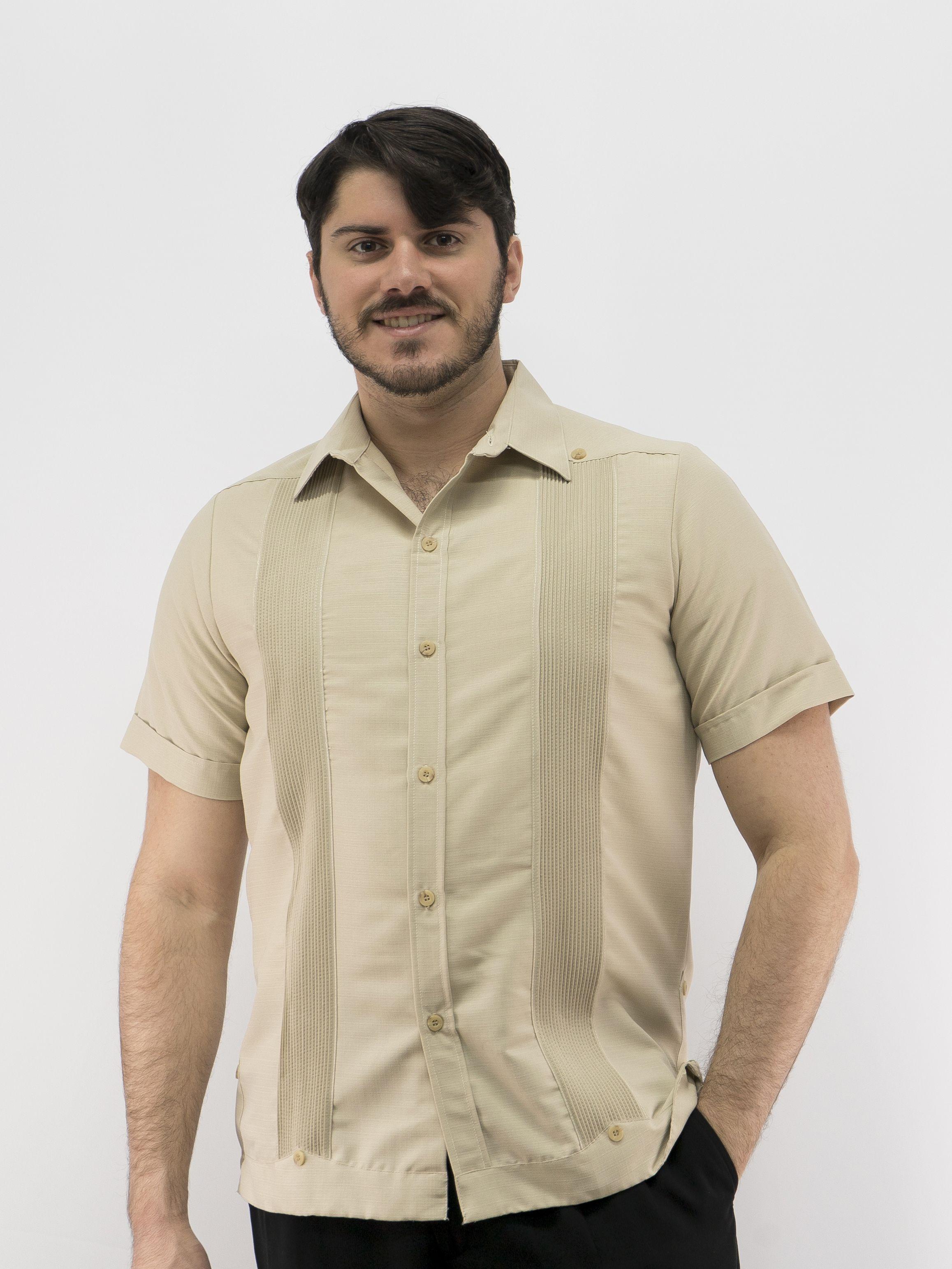 92724aa3e4 Men s Shirt Guayabera Shirt Tan D Accord 2522 Men s Shirt Guayabera ...