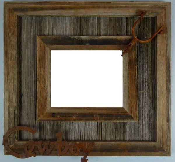 Rustic Western Durango Metal Decor Distressed Barnwood Canvas Frame ...