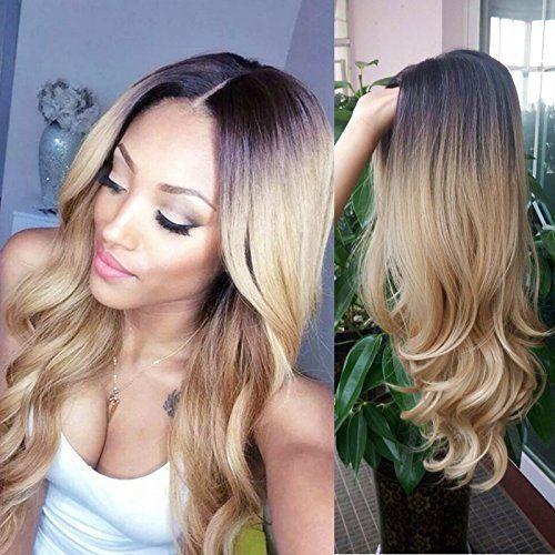 hanne r sistant la chaleur perruque synth tique ombre couleur 1b 27 long cheveux blond et noir. Black Bedroom Furniture Sets. Home Design Ideas