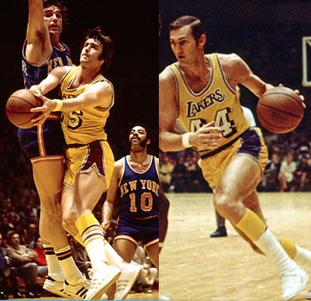 Gail Goodrich Shooting Gail Goodrich (left) and Jerry