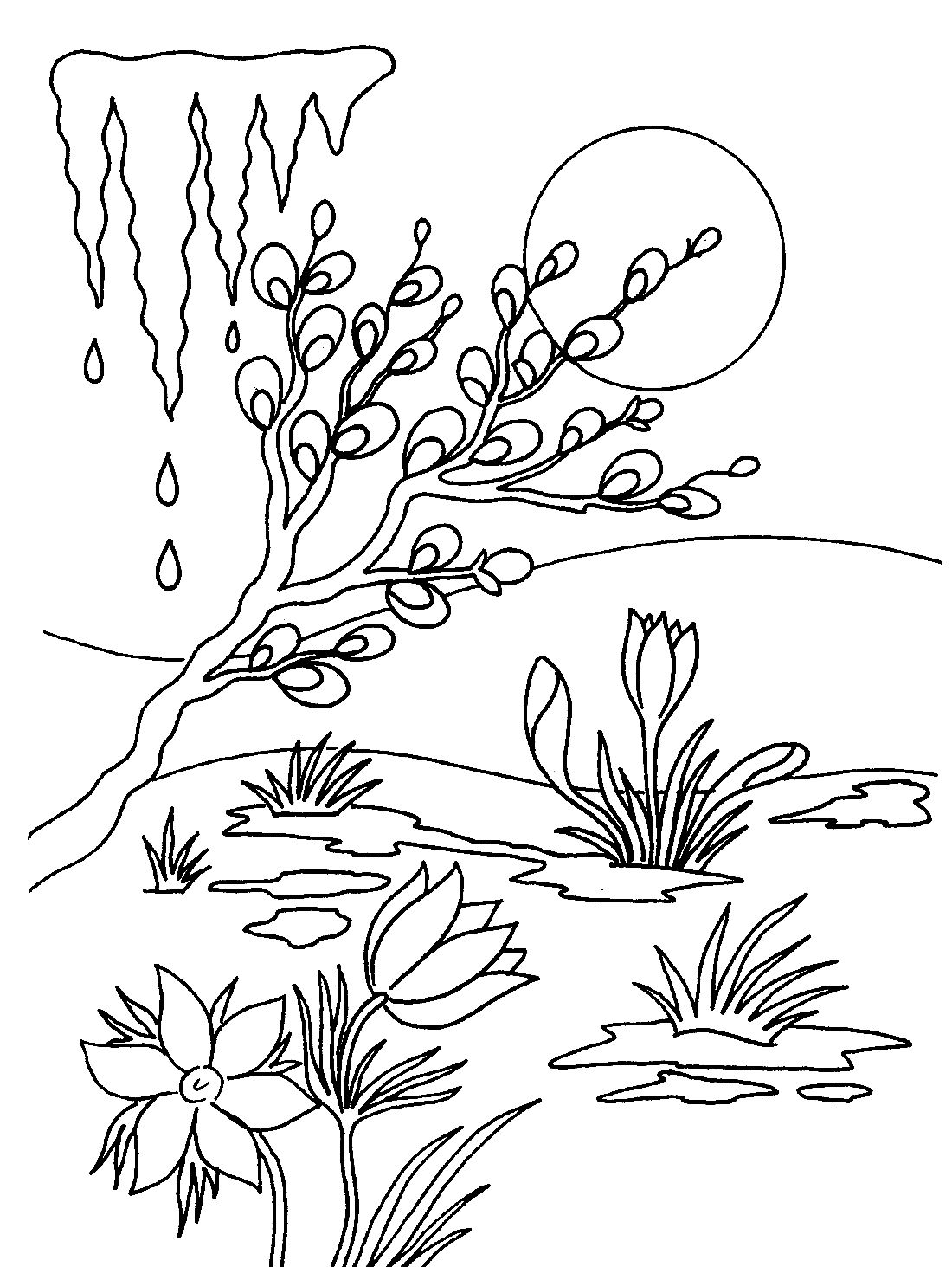 coloring pages flower drawing silhouette stencil