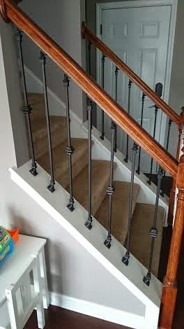 House Of Overstreet Diy Staircase Makeover Wrought Iron Spindles