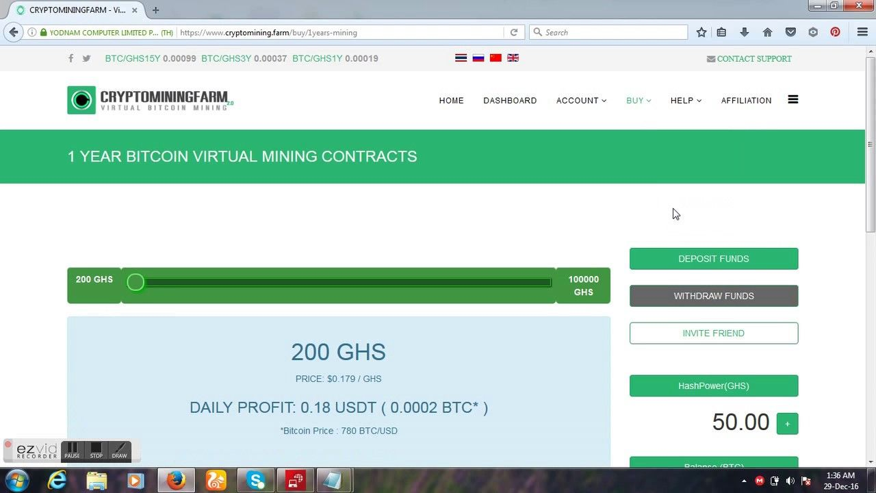 970 Per Month Free 50 GHS Lifetime CryptoMining Farm
