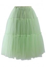Amore Tulle Midi Skirt in Mint Green