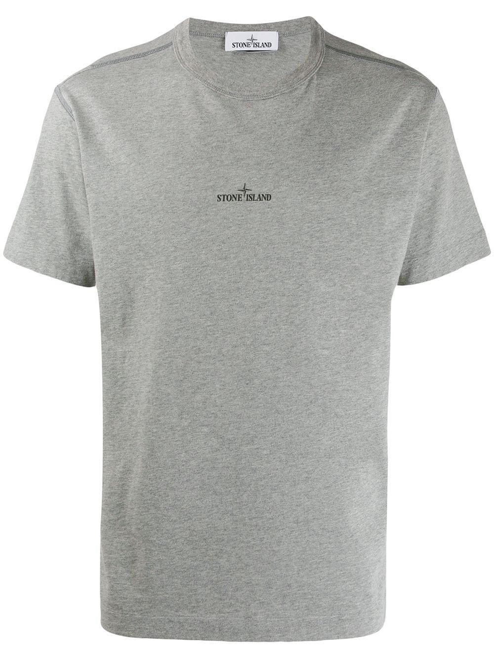 Stone Island Micro Logo Print T Shirt Grey Stone Island T Shirt Stone