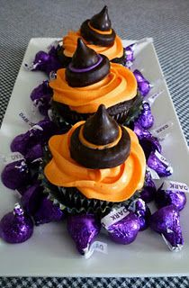 These Halloween cupcakes are made with a dark chocolate Hershey kiss and a York Peppermint Patty.