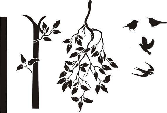 Wall Stencil Large Tree Stencil Free Birds By Elegantstencils